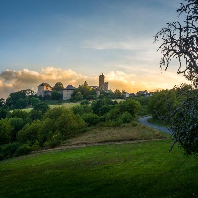 Burg Greifenstein im Sonnenuntergang
